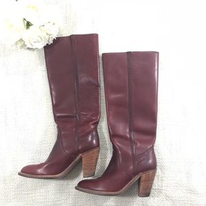 Frye Boots Vintage Leather Whiskey Burgundy Brown